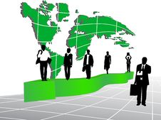 Free Business People And Map Stock Image - 7837321