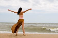 Free Happy Woman Dreams To Fly On Winds Royalty Free Stock Image - 7837646