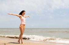 Free Happy Woman Dreams To Fly On Winds Stock Photos - 7837663
