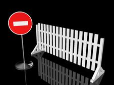 Free Traffic Fence With Sign Royalty Free Stock Photos - 7838418