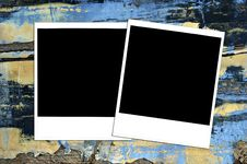 Grungy Painted Texture With Instant Photos Stock Image