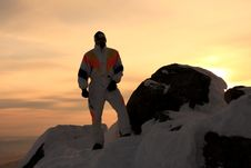 Free Mountain-skier. Sunset. Royalty Free Stock Image - 7839656