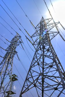 High Voltage Electrical Overhead Lines Royalty Free Stock Photos