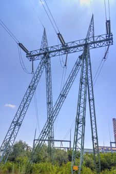 High Voltage Electrical Overhead Line Royalty Free Stock Images