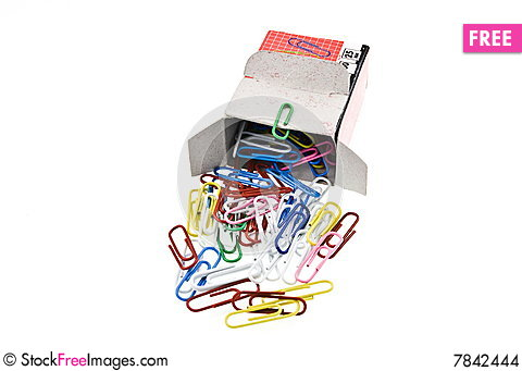 Free Paper Clips Poured From Box Stock Images - 7842444