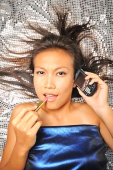 Free Woman With Her Mobile Phone And Lipstick Stock Image - 7840041