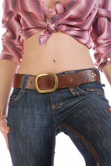 Sexy Cowgirl S Belly Royalty Free Stock Photography