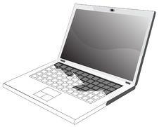 Free Laptop- Half Blueprint Stock Image - 7841201
