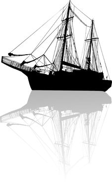 Free Ship Silhouette With Reflection Stock Image - 7841831