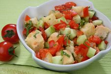 Fresh Tomato And Cucumber Salad With Bread Cubes Royalty Free Stock Photography