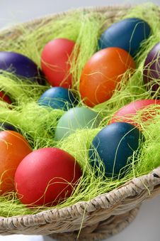 Free Easter Eggs In Basket Stock Image - 7842511