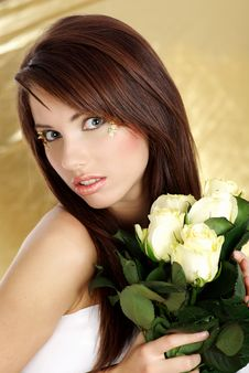 Free Woman With White Rose Royalty Free Stock Photos - 7843348