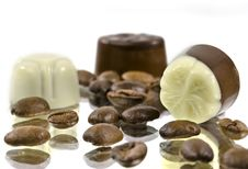 Coffee And Three Pralines Royalty Free Stock Photography