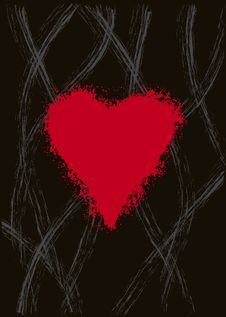 Free Grundgy Red Love Heart On Black Stock Photos - 7844743