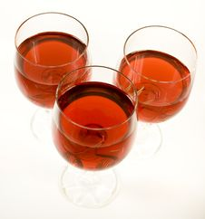 Three Crystal Wine-glassful Royalty Free Stock Image