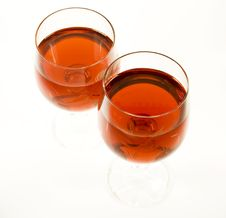 Two Crystal Wine-glassful Stock Photography