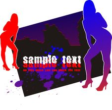 Silhouettes Two Womans On Background Of The Night Royalty Free Stock Images