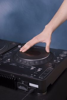 Dj Hand Mixing On Player Royalty Free Stock Photography