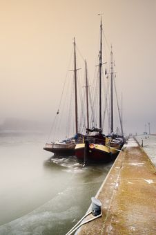 Sailing Boat On A Cold Day In Winter Stock Image