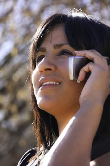 Free Hispanic Woman On Cell Phone Royalty Free Stock Image - 7847436