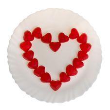 Heart Shaped Fruit Jellies On Plate Stock Photo