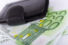 Free Euro And A Leather Purse Royalty Free Stock Photography - 7849287