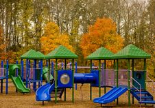 Free Blue And Green Playground In Fall Royalty Free Stock Photo - 7849585