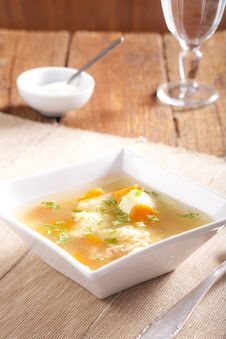 Noodle Soup With Dumplings Royalty Free Stock Photo