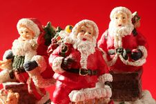 Free Three Santa Claus Figurines, Studio Royalty Free Stock Images - 7852279