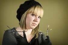 Free Young Girl Holding Forceps In Her Hand Royalty Free Stock Photos - 7852888
