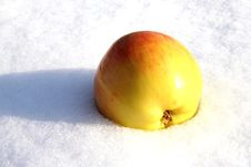 Apple On Snow Background. Royalty Free Stock Photo