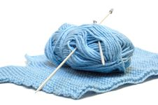 Free Two Knitting Needles, Woollen Yarn Clew, Knitting. Royalty Free Stock Photo - 7855985