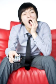 Free The Tired Young Man In A Grey Shirt Watches TV Stock Photo - 7856100