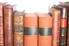 Row Of Old Leather Bound Books Stock Images