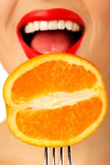 Free Orange On The Fork Royalty Free Stock Photos - 7857038