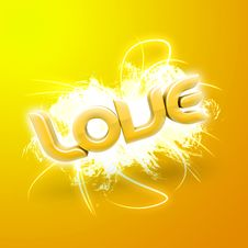 Free 3D Illustration Of The Word Love Yellow Stock Photo - 7857200