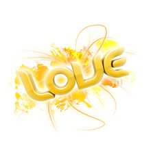 Free 3D Illustration Of The Word Love Yellow 2 Stock Photos - 7857273