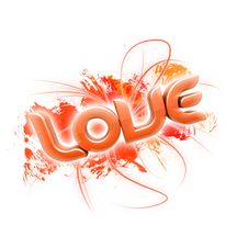 Free 3D Illustration Of The Word Love Orange 2 Stock Photography - 7857282