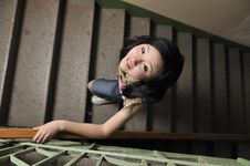Black Hair Asia Teen Age Girl  Walk In Staircase Stock Images