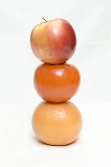 Apple, Tomato And Orange Royalty Free Stock Images