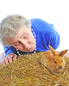 Elderly Woman With One Rabbit Stock Photography