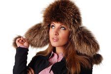 Free Woman In Fur Cap Stock Photos - 7858283