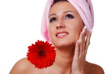 Free Woman In Towel And Flowers Royalty Free Stock Image - 7858386
