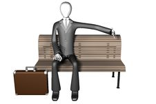 Free 3d Illustration Of Businessman Sitting Alone On A Royalty Free Stock Images - 7858669