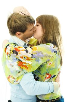 Kissing Young Couple Stock Photos