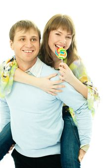 Free Young Man Giving His Girlfriend Piggyback Ride Stock Photo - 7861420