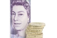 Free Coins And Twenty Pound Note Stock Photography - 7864052