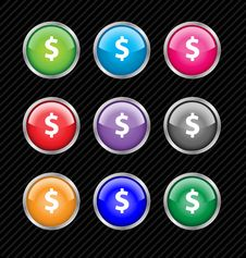 Free Collection Of Vector Dollar Buttons Royalty Free Stock Photo - 7864335