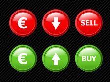Vector Buttons For Euro Currency Exchange. Royalty Free Stock Photo