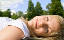 Free Carefree Blonde In The Grass Stock Image - 7864861
